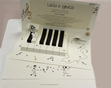 Invitación boda PIANO